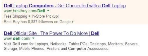 Dell Ad vs Dell Organic Listing